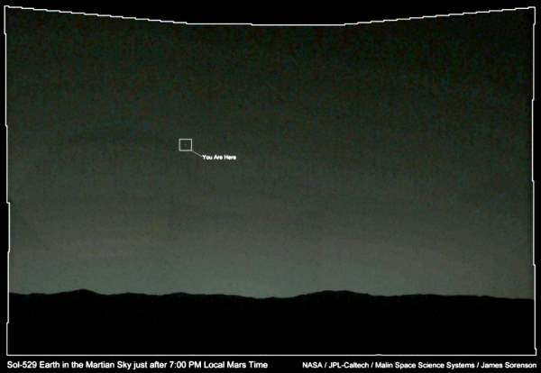 Earth Is Seen From Mars: Earth in the Martian sky just after 7.00 pm local Mars time