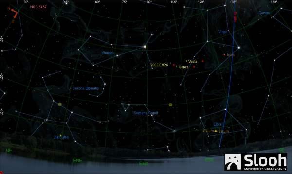 2000 EM26 asteroid's trajectory