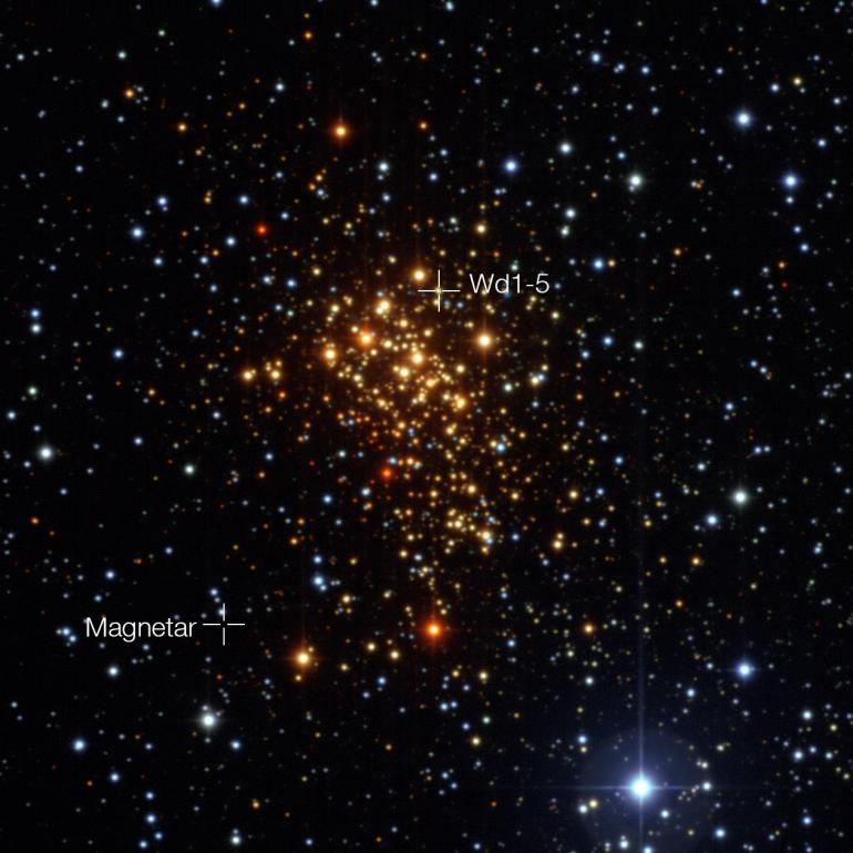 An image of the Westerlund 1 star cluster