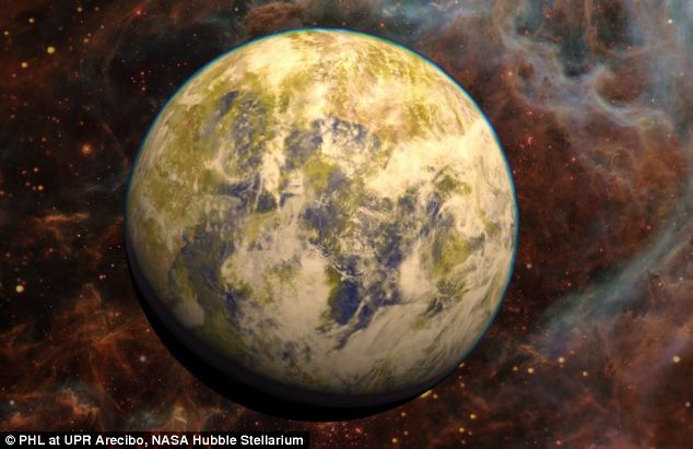 Artistic representation of the potentially habitable Super-Earth Gliese 832 c against a stellar nebula background