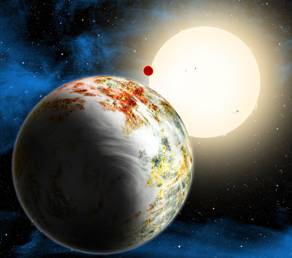 An artist concept shows the Kepler-10 system