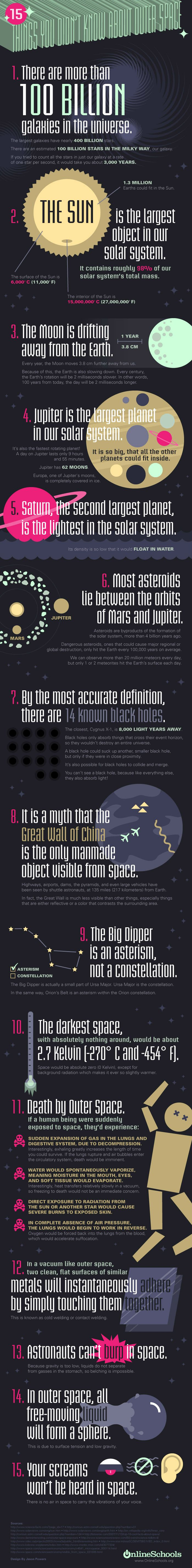 outer space amazing facts infographic