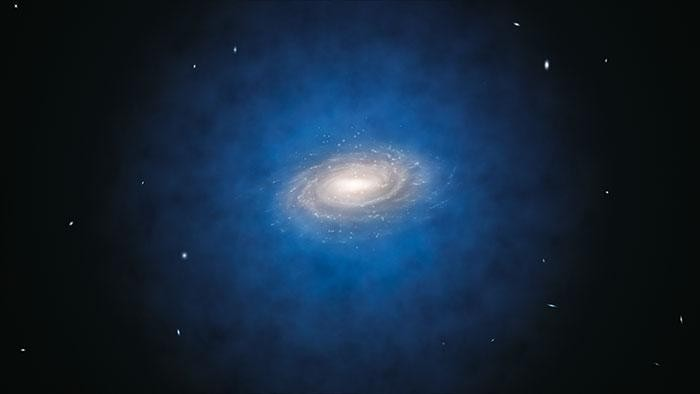 This is an artist's impression of the Milky Way and its dark matter halo
