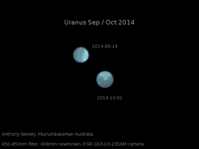 These are optical images of Uranus on Sept. 19 and Oct. 2, showing the dramatic appearance of a bright storm on a planet that normally displays only a diffuse bright polar region. Credit: Photo by Anthony Wesley, Murrumbateman, Australia.