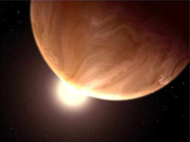 """An artist's rendition of a cloudy super-Earth. Scientists suspect that alien life could potentially thrive on an alien planet by subsisting on """"supercritical"""" carbon dioxide instead of water.  Credit: NASA, ESA, & G. Bacon/STScI, STScI-PRC14-06"""