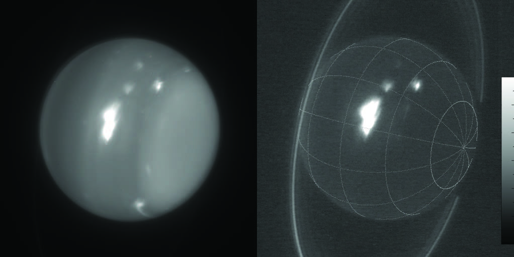 Infrared images of Uranus obtained on Aug. 6, 2014. The white spot is an extremely large storm that was brighter than any feature ever recorded on the planet.