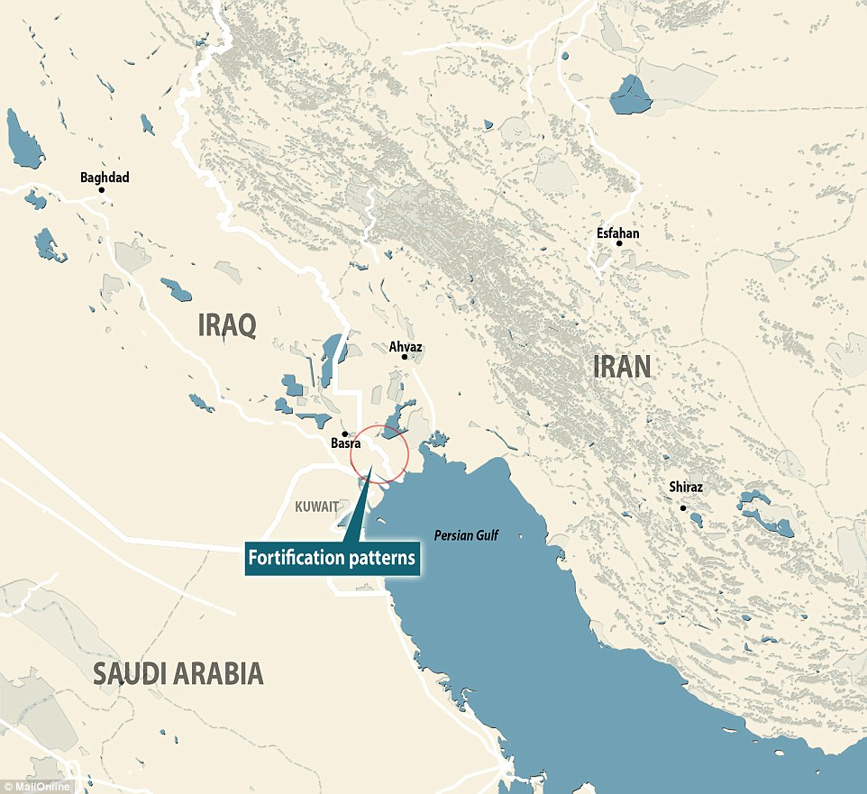 The patterns were spotted near Basra at the border between Iraq and Iran (shown), a remnant of the war in the 1980s