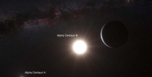 The illustration of the system Alpfa Centauri and the newest planet discovered