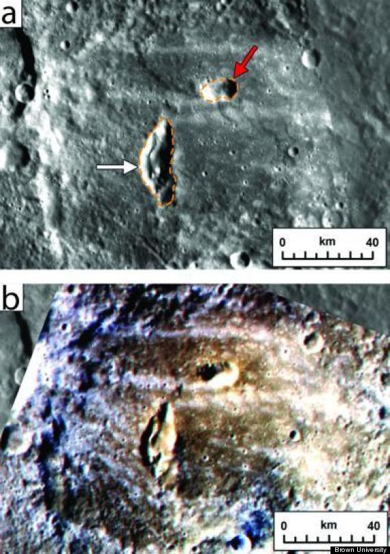 Two pyroclastic vents on the floor of Mercury's Kipling crater