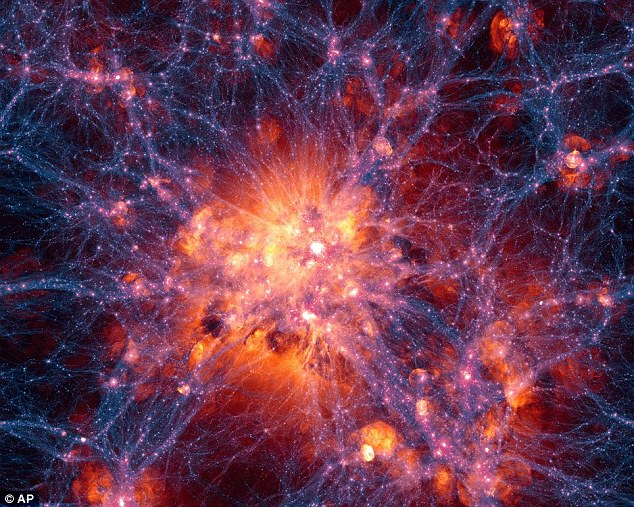 The most detailed computer simulation of the history of the universe called Illustris, revealing dark matter density in the universe