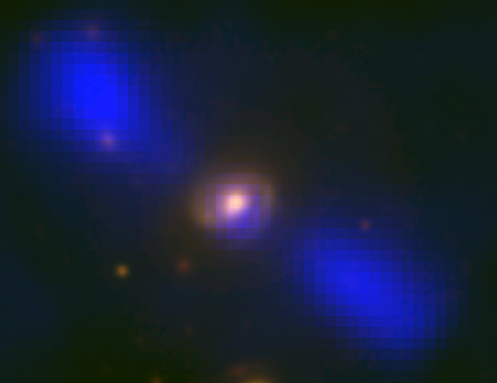 Radio-optical overlay image of galaxy J1649+2635. Yellow is visible-light image; Blue is the radio image, indicating the presence of jets. Credit: Mao et al., NRAO/AUI/NSF, Sloan Digital Sky Survey