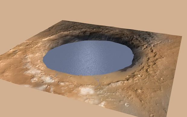 This illustration depicts a lake of water partially filling Mars' Gale Crater, receiving runoff from snow melting on the crater's northern rim. Credit: NASA/JPL-Caltech/ESA/DLR/FU Berlin/MSSS