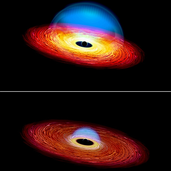 "This artist's rending shows ""before"" and ""after"" images of a changing look quasar."
