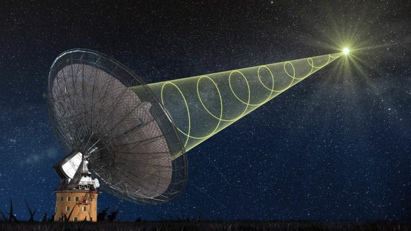 Schematic illustration of CSIRO's Parkes radio telescope receiving the polarised signal from the new 'fast radio burst'. Credit: Swinburne Astronomy Productions
