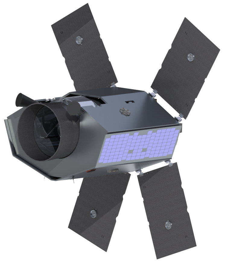 Rendering of the Twinkle mission spacecraft, which will be built by Surrey Satellite Technology Ltd. Credit: Twinkle/SSTL